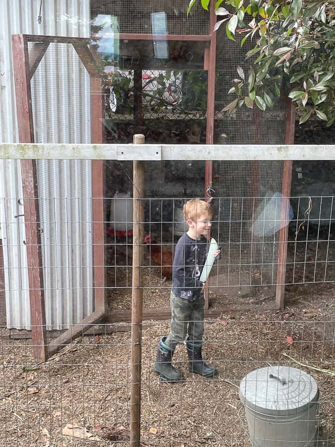 a boy holding a toy sword outside a chicken coop