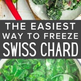 frozen pucks of swiss chard on a beige plate