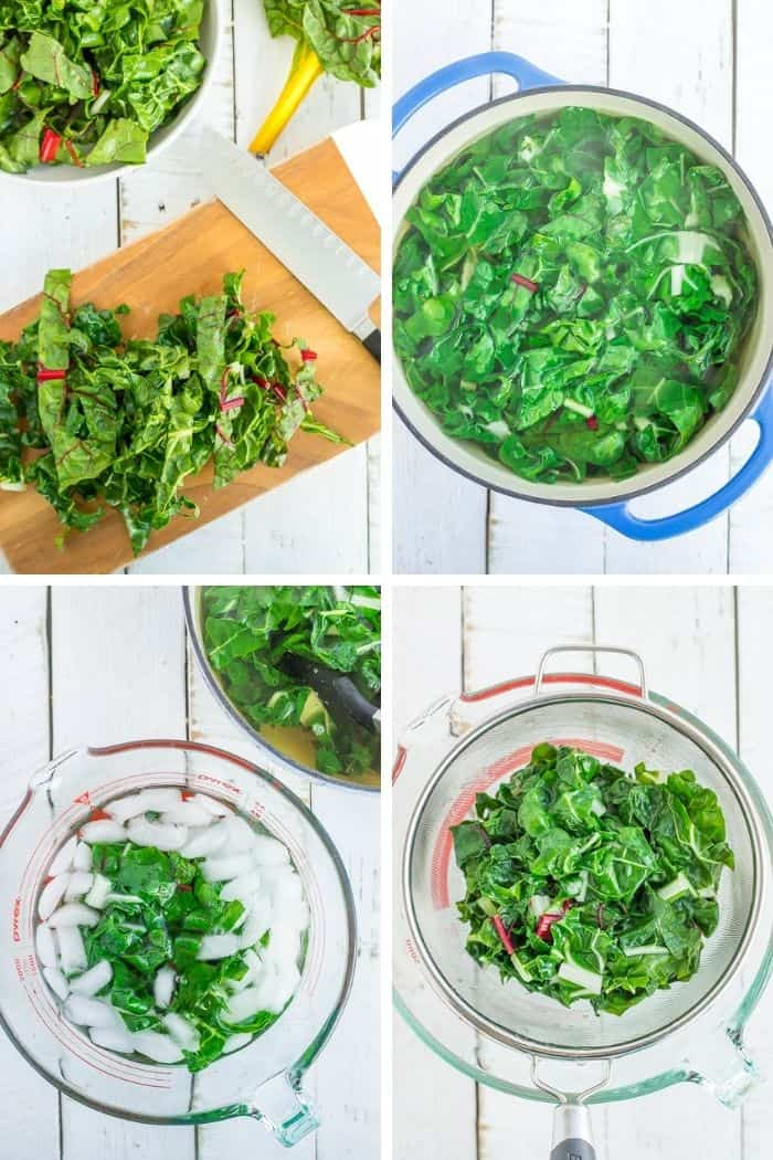 4 step by step photos showing how to freeze swiss chard