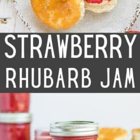 Multiple jars of strawberry rhubarb jam on a white board and a biscuit