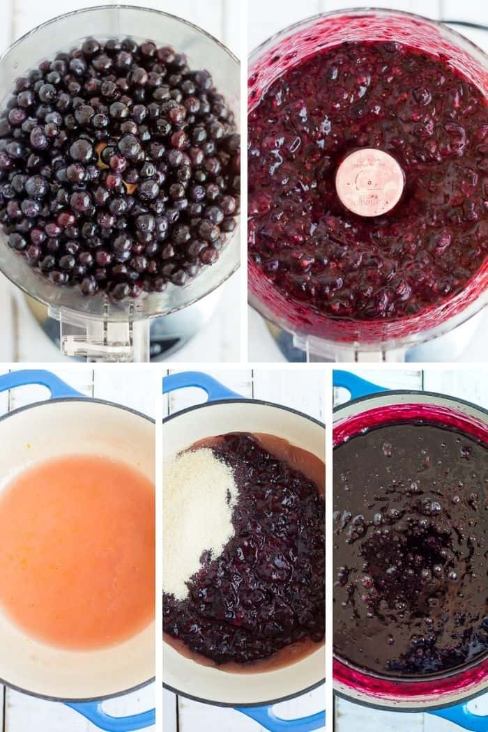 5 photos showing how to make low sugar blueberry jam