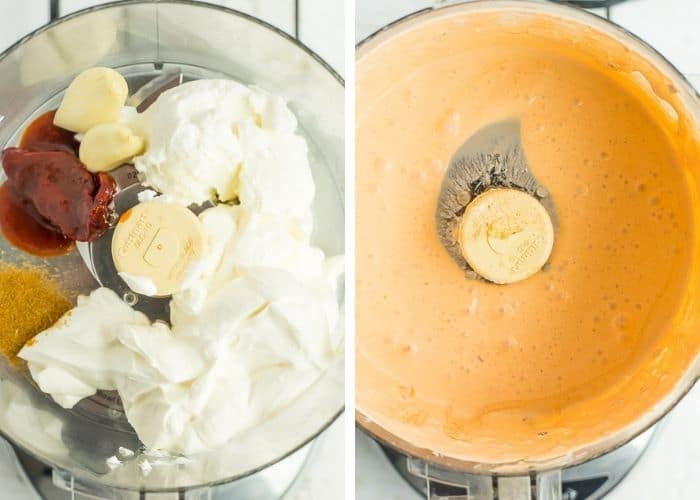 2 photos of a food processor showing the steps how to make chipotle crema