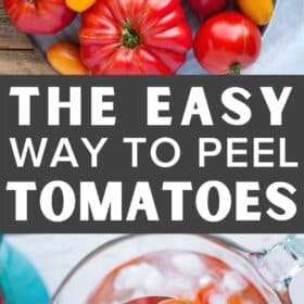 a spoon scooping tomatoes out of a bowl of ice water