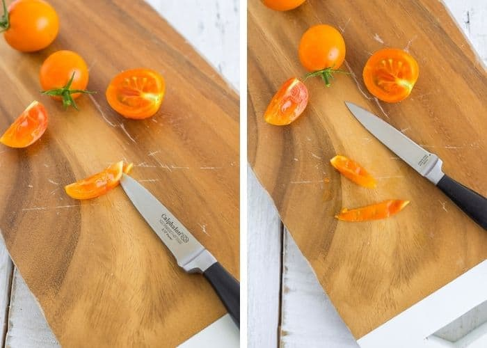 2 photos showing how to use a paring knife to peel a tomato