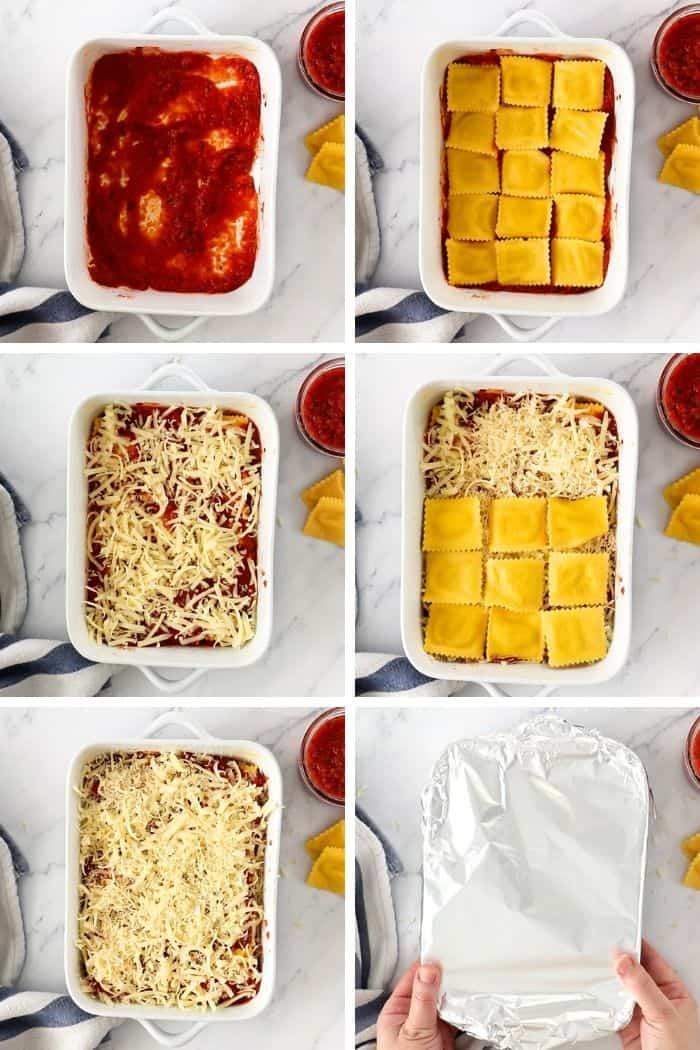 6 photos showing how to layer a ravioli lasagna