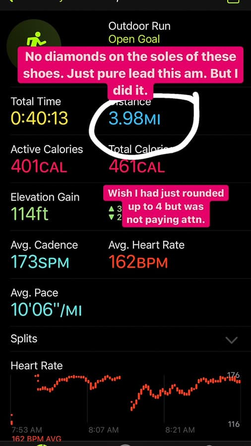 a workout report from an apple watch