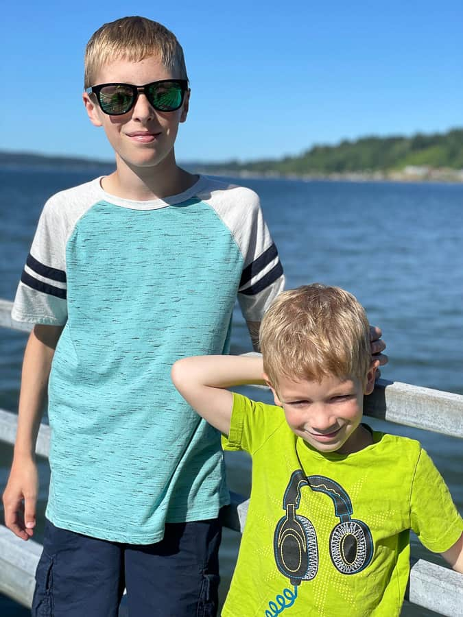 2 boys on a dock