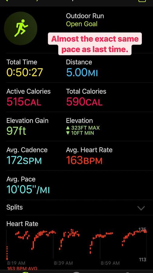 an apple fitness report of a run