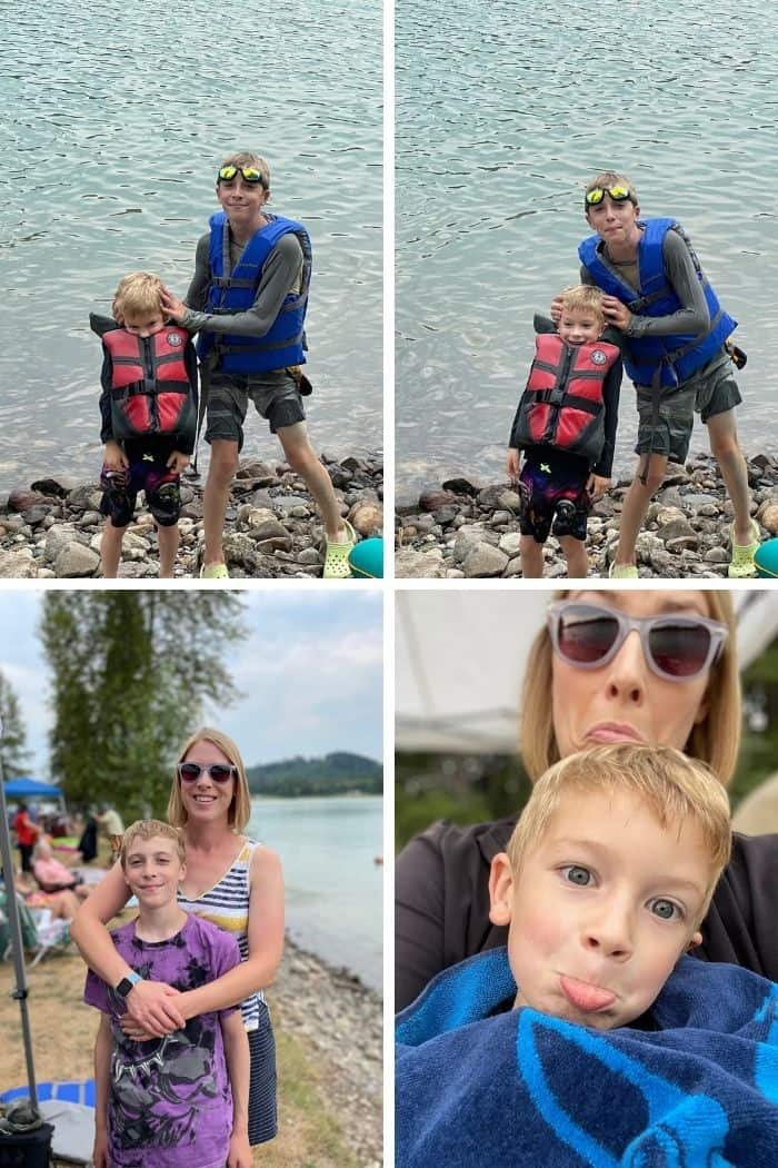 4 photos of a mom and 2 kids