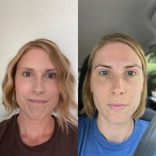 2 photos of a woman