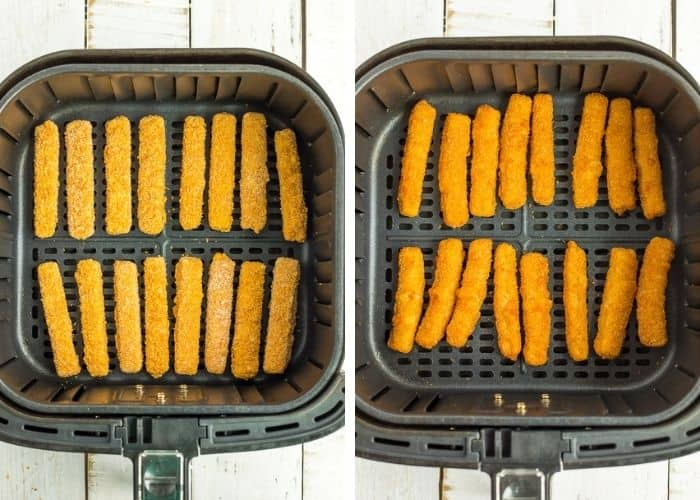 two photos showing how to make frozen fish sticks in the air fryer