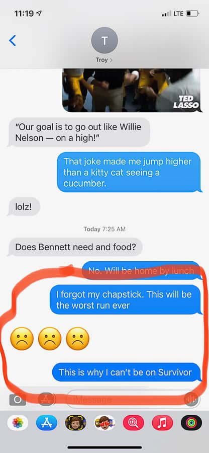 a text conversation between a husband and wife