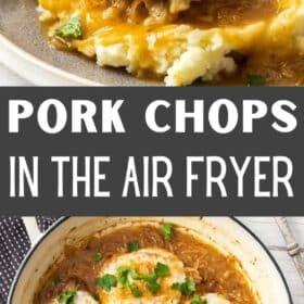 a pan with boneless french onion pork chops