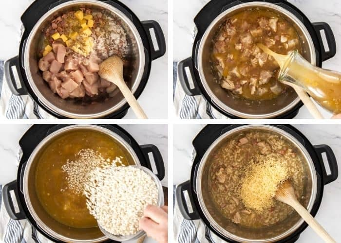 4 photos showing step by step how to make chicken and bacon risotto
