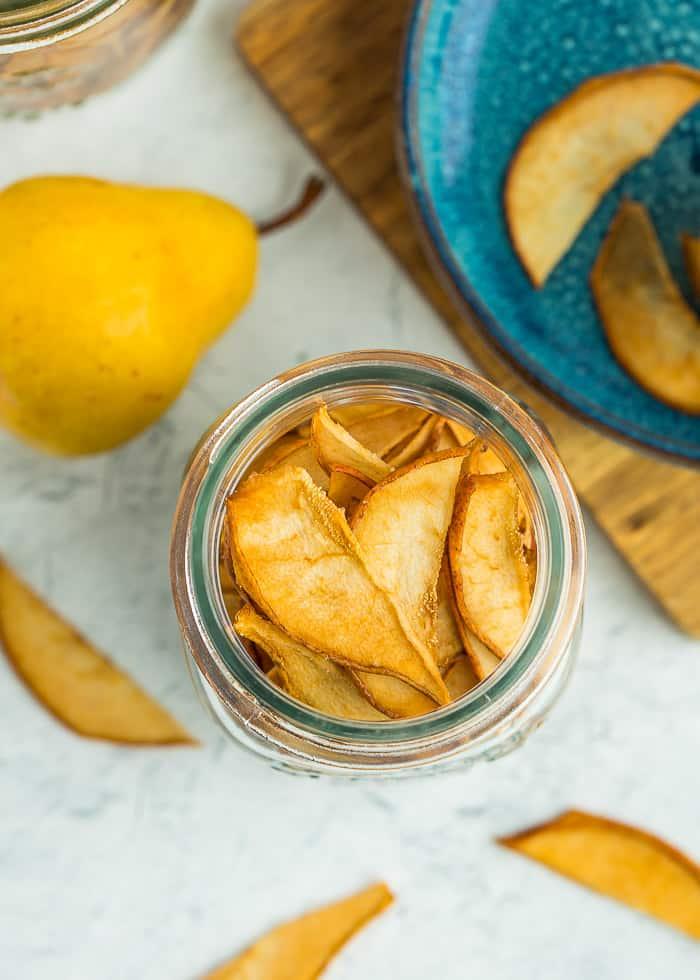 dried pears in a mason jar