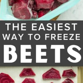 Frozen beets in a silicone bag