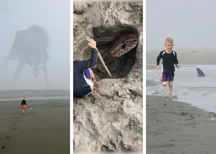 3 photoshopped photos of a little boy at the ocean