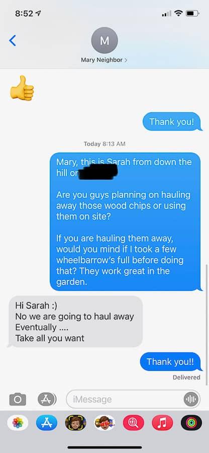 a screenshot of a text conversation