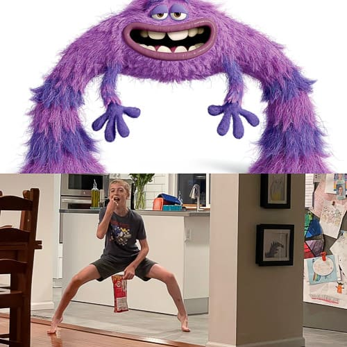 a pic of a boy and a monster from Monsters University