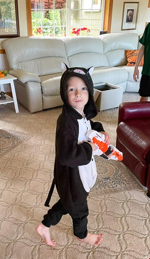a boy in a cat costume