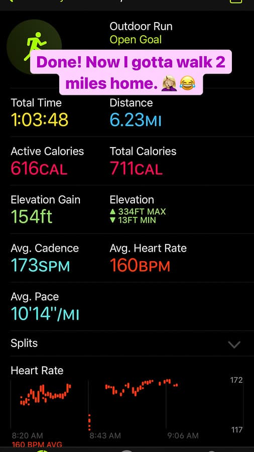 a screenshot of an outdoor run workout report